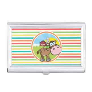 Cartoon Cow; Bright Rainbow Stripes Business Card Cases