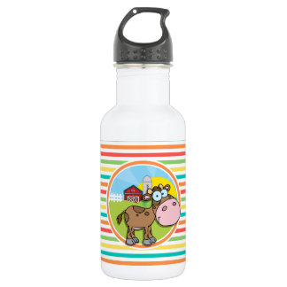 Cartoon Cow; Bright Rainbow Stripes Stainless Steel Water Bottle
