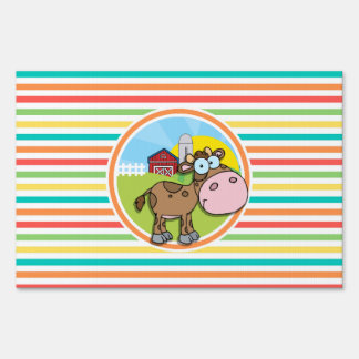 Cartoon Cow; Bright Rainbow Stripes Signs