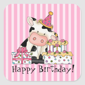 Cartoon Cow Celebration party sticker