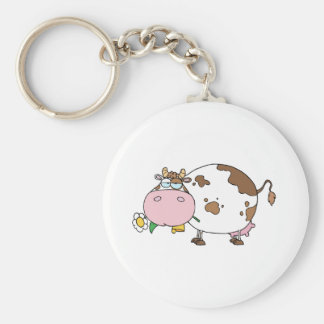 Cartoon Cow Color White Keychain