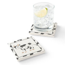 Cartoon  cow country marble coaster