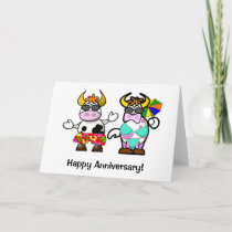 Cartoon Cow Couple Anniversary Card