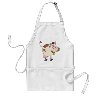 Cartoon cow eating grass aprons