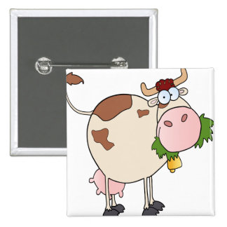 Cartoon cow eating grass button
