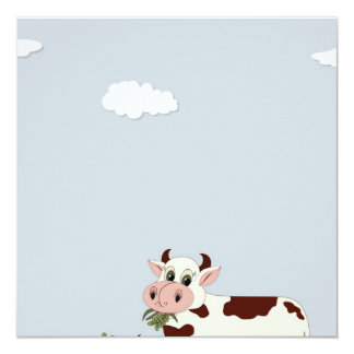 Cartoon Cow Eating Leaves Card