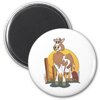 Cartoon Cow  Guernsey Barn 2 Inch Round Magnet