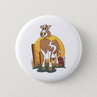 Cartoon Cow  Guernsey Barn Pinback Button