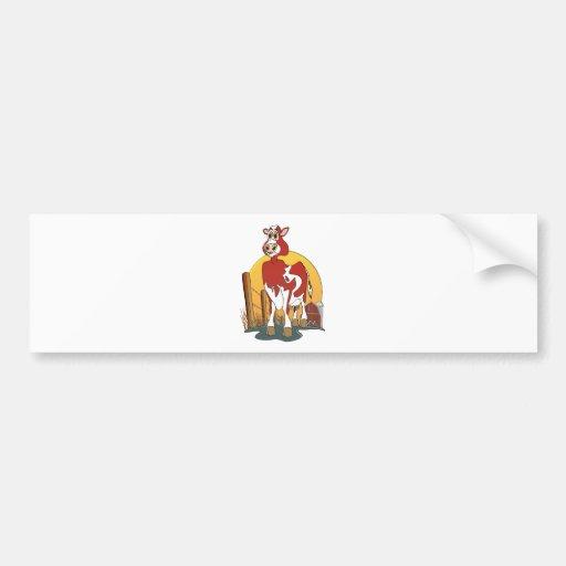 Cartoon Cow Jersey Barn Bumper Sticker