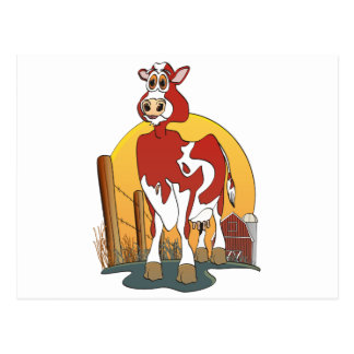 Cartoon Cow Jersey Barn Postcard