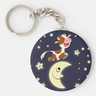 Cartoon Cow Jumped Over The Moon Keychain