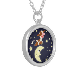Cartoon Cow Jumped Over The Moon Necklace