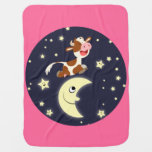 Cartoon Cow Jumping Over The Moon Baby Blanket