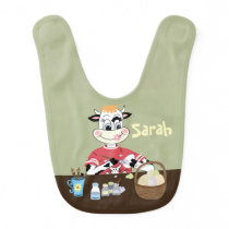 Cartoon cow painting eggs | Baby 1st Easter bib