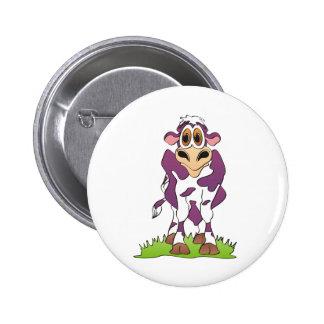 Cartoon Cow Purple Button