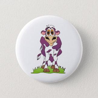 Cartoon Cow Purple Pinback Button
