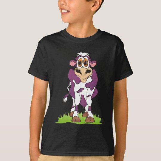 Cartoon Cow Purple T-Shirt