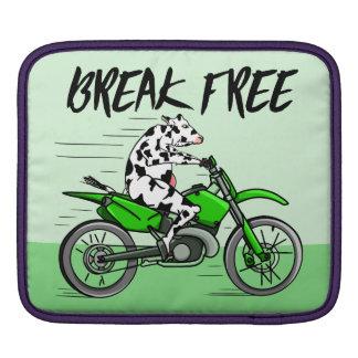 Cartoon cow riding a motorbike iPad sleeves