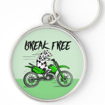 Cartoon cow riding a motorbike keychain