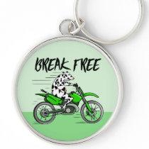 Cartoon cow riding a motorbike keychain