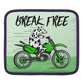 Cartoon cow riding a motorbike sleeve for iPads