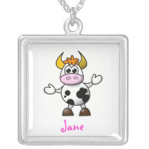 Cartoon cow silver plated necklace