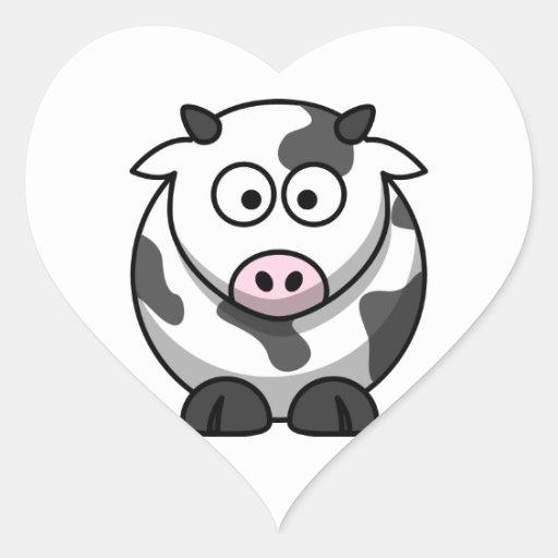 Cartoon Cow Sticker (Heart)