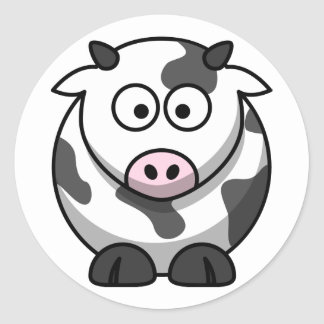 Cartoon Cow Sticker (Round)