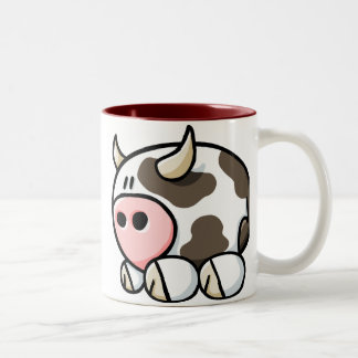 Cartoon Cow Two-Tone Coffee Mug