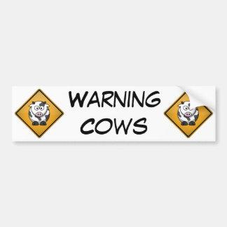 Cartoon Cow Warning Sign Bumper Sticker