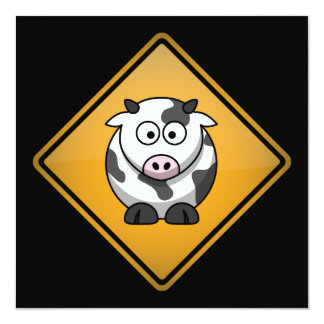 "Cartoon Cow Warning Sign 5.25"" Square Invitation Card"