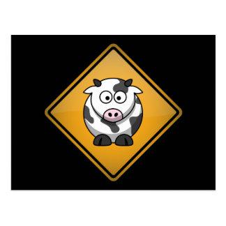 Cartoon Cow Warning Sign Postcard