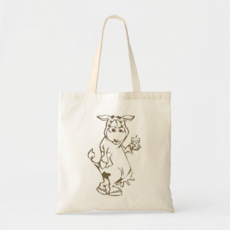 Cartoon Cow with a Glass of Milk Canvas Tote Bag