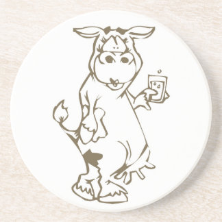 Cartoon Cow with a Glass of Milk Coaster