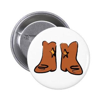Cartoon Cowboy Boots Pinback Button