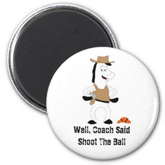 Cartoon Cowboy Horse Basketball Player 2 Inch Round Magnet