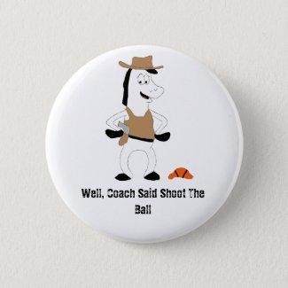 Cartoon Cowboy Horse Basketball Player Button