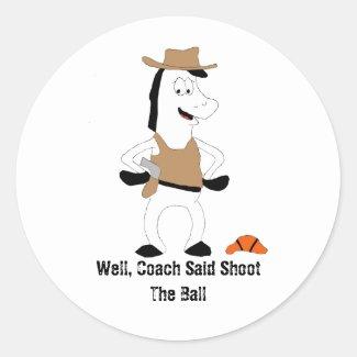 Cartoon Cowboy Horse Basketball Player Classic Rou Classic Round Sticker