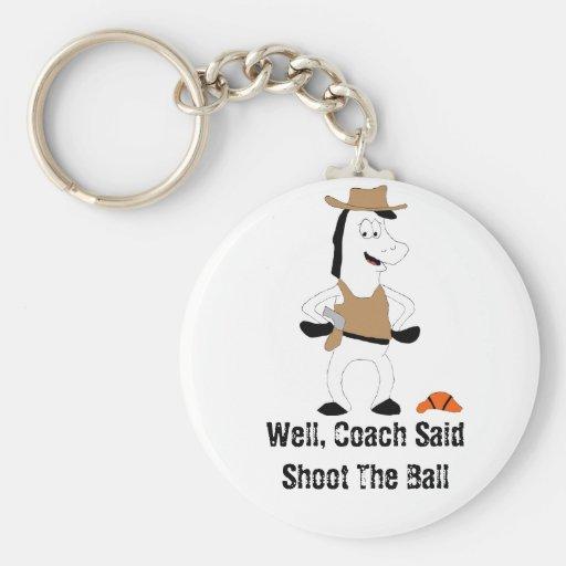 Cartoon Cowboy Horse Basketball Player Key Chain