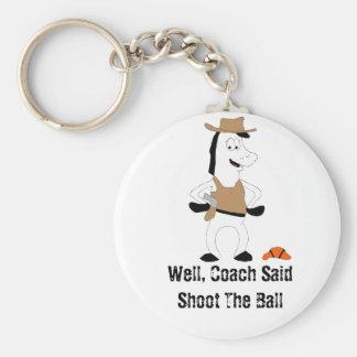 Cartoon Cowboy Horse Basketball Player Keychain