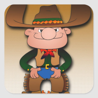 Cartoon Cowboy Square Sticker