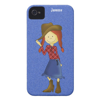 Cartoon Cowgirl on Denim and iPhone Case