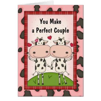 Cartoon Cows Anniversary Congratulations Greeting Card