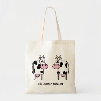 Cartoon Cows Love Tote Bag