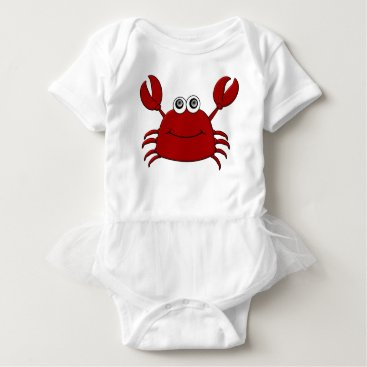 Beach Themed Cartoon Crab Baby Bodysuit