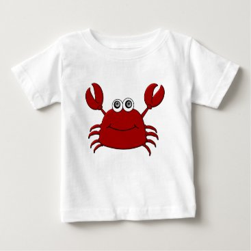 Beach Themed Cartoon Crab Baby T-Shirt