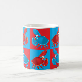 Cartoon crab mosaic coffee mug