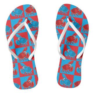 Cartoon crab mosaic flip flops