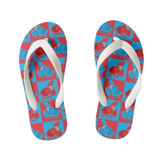 Cartoon crab mosaic kid's flip flops
