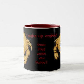 Cartoon Crab mug. I wake up crabby! Two-Tone Coffee Mug